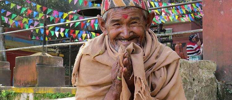 anziano al Tempio di Pharping (Nepal)