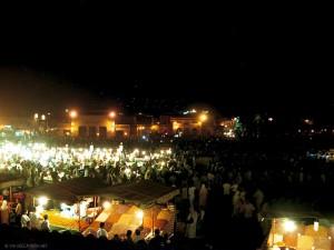 notte a Jemaa el Fna (Marrakech, Marocco)