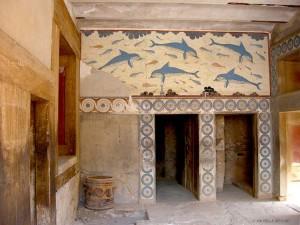 copia affresco dei delfini, Palazzo di Cnosso (Creta, Grecia)