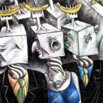 East Side Gallery Berlin - César Olhagaray - Uhrmenschen der Computer